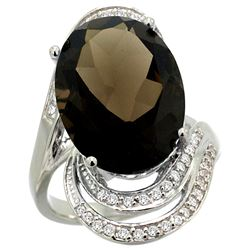 Natural 11.2 ctw smoky-topaz & Diamond Engagement Ring 14K White Gold - REF-95G8M