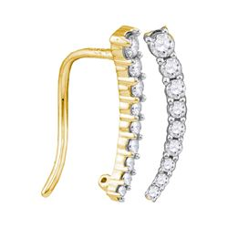 0.25 CTW Diamond Graduated Journey Climber Earrings 10KT Yellow Gold - REF-19K4W