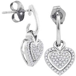 0.20 CTW Diamond Dangle Earrings 10KT White Gold - REF-22H4M