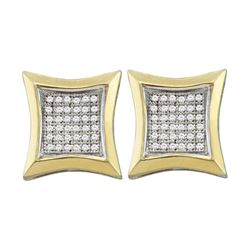 0.23 CTW Diamond Square Kite Cluster Earrings 10KT Yellow Gold - REF-25N4F