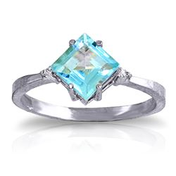 Genuine 1.77 ctw Blue Topaz & Diamond Ring Jewelry 14KT White Gold - REF-28A8K