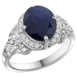 Natural 2.92 ctw blue-sapphire & Diamond Engagement Ring 14K White Gold - REF-162M8H