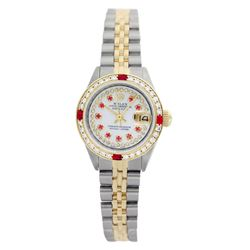 Rolex Pre-owned 26mm Womens Custom String White Dial Two Tone - REF-540Y3W