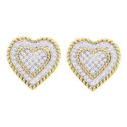 0.33 CTW Diamond Roped Heart Cluster Screwback Earrings 10KT Yellow Gold - REF-30X2Y