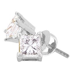 0.25 CTW Princess Diamond Solitaire Stud Earrings 14KT White Gold - REF-26W9K