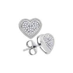 0.20 CTW Diamond Heart Earrings 10KT White Gold - REF-22N4F