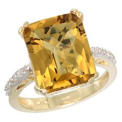 Natural 5.48 ctw Whisky-quartz & Diamond Engagement Ring 14K Yellow Gold - REF-49F7N