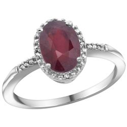 Natural 1.5 ctw Ruby & Diamond Engagement Ring 14K White Gold - REF-24G2M