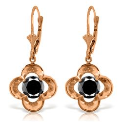 Genuine 1.0 ctw Black Diamond Earrings Jewelry 14KT Rose Gold - REF-76Y2F