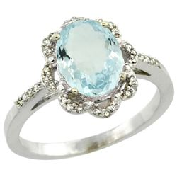 Natural 1.51 ctw Aquamarine & Diamond Engagement Ring 10K White Gold - REF-35M9H