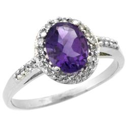 Natural 1.3 ctw Amethyst & Diamond Engagement Ring 10K White Gold - REF-25M9H