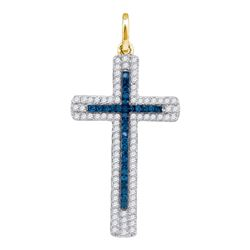 0.23 CTW Blue Color Diamond Cross Pendant 10KT Yellow Gold - REF-14X9Y
