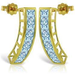 Genuine 4.5 ctw Aquamarine Earrings Jewelry 14KT Yellow Gold - REF-50X6M