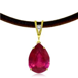 Genuine 5.01 ctw Ruby & Diamond Necklace Jewelry 14KT Yellow Gold - REF-59K8V