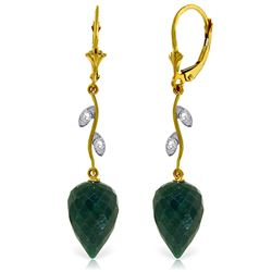 Genuine 25.72 ctw Green Sapphire Corundum & Diamond Earrings Jewelry 14KT Yellow Gold - REF-53P4H