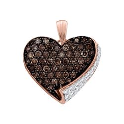 0.85 CTW Cognac-brown Color Diamond Heart Love Pendant 10KT Rose Gold - REF-22Y4X