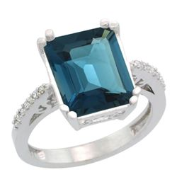 Natural 5.48 ctw London-blue-topaz & Diamond Engagement Ring 10K White Gold - REF-41M3H