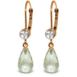 Genuine 4.53 ctw Green Amethyst & Diamond Earrings Jewelry 14KT Rose Gold - REF-29A3K