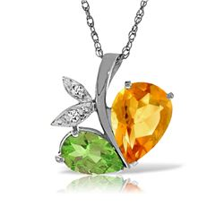 Genuine 4.06 ctw Citrine, Peridot & Diamond Necklace Jewelry 14KT White Gold - REF-59N2R