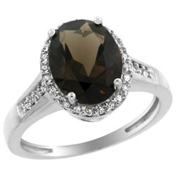 Natural 2.49 ctw Smoky-topaz & Diamond Engagement Ring 14K White Gold - REF-42K2R