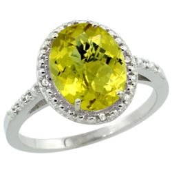 Natural 2.42 ctw Lemon-quartz & Diamond Engagement Ring 10K White Gold - REF-24Z6Y