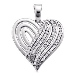 0.15 CTW Diamond Heart Love Pendant 10KT White Gold - REF-16X4Y