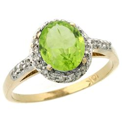 Natural 1.49 ctw Peridot & Diamond Engagement Ring 10K Yellow Gold - REF-26N3G