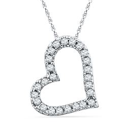 0.10 CTW Diamond Heart Love Pendant 10KT White Gold - REF-8N2F