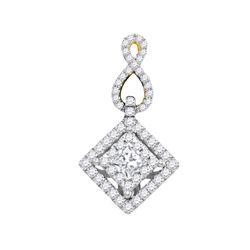 0.76 CTW Princess Diamond Square Pendant 14KT Yellow Gold - REF-89M9H