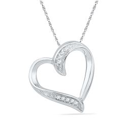 0.03 CTW Diamond Heart Outline Pendant 10KT White Gold - REF-7Y4X