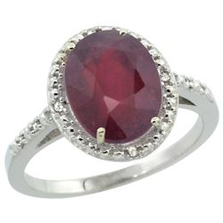 Natural 3.66 ctw Ruby & Diamond Engagement Ring 10K White Gold - REF-30X5A