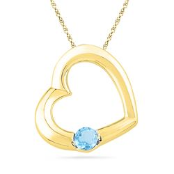 0.15 CTW Created Blue Topaz Heart Pendant 10KT Yellow Gold - REF-7F4N