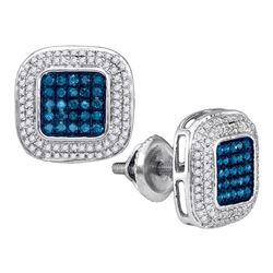 0.50 CTWBlue Color Diamond Square Cluster Earrings 10KT White Gold - REF-34K4W