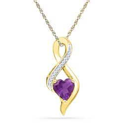 0.80 CTWCreated Amethyst Heart Solitaire Infinity Pendant 10KT Yellow Gold - REF-14X9Y