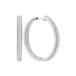 1 CTW Diamond Hoop Earrings 10KT White Gold - REF-75F2N