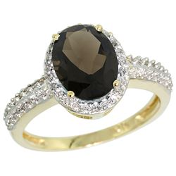 Natural 1.91 ctw Smoky-topaz & Diamond Engagement Ring 10K Yellow Gold - REF-31Z7Y