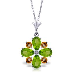 Genuine 2.43 ctw Peridot & Citrine Necklace Jewelry 14KT White Gold - REF-29H7X