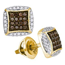 0.30 CTW Cognac-brown Color Diamond Square Cluster Earrings 10KT Yellow Gold - REF-18Y2X
