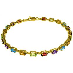 Genuine 5.46 ctw Garnet, Peridot & Citrine Bracelet Jewelry 14KT Yellow Gold - REF-96R7P