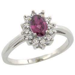 Natural 0.67 ctw Rhodolite & Diamond Engagement Ring 14K White Gold - REF-48G5M