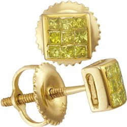 0.24 CTW Mens Princess Yellow Color Diamond Square Earrings 10KT Yellow Gold - REF-14N9F