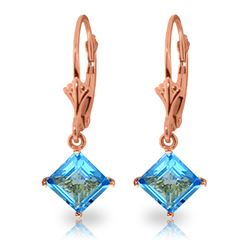 Genuine 3.2 ctw Blue Topaz Earrings Jewelry 14KT Rose Gold - REF-30P2H