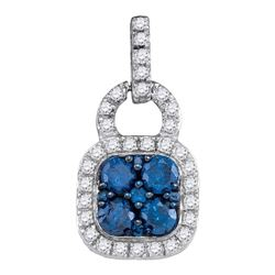 0.80 CTWBlue Color Diamond Square Cluster Pendant 10KT White Gold - REF-41H9M