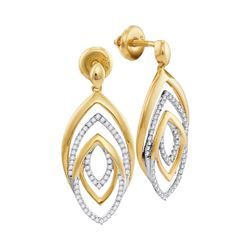 0.35 CTW Diamond Dangle Earrings 10KT Yellow Gold - REF-37K5W