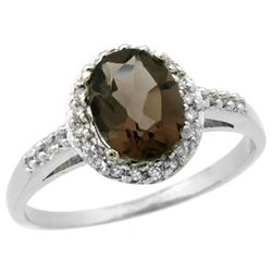 Natural 1.3 ctw Smoky-topaz & Diamond Engagement Ring 14K White Gold - REF-32W2K