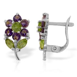 Genuine 2.12 ctw Peridot & Amethyst Earrings Jewelry 14KT White Gold - REF-36X8M