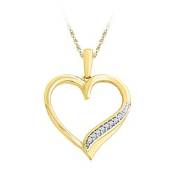 0.05 CTW Diamond Heart Outline Pendant 10KT Yellow Gold - REF-10Y5X