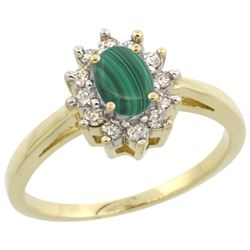 Natural 0.67 ctw Malachite & Diamond Engagement Ring 10K Yellow Gold - REF-38A4V