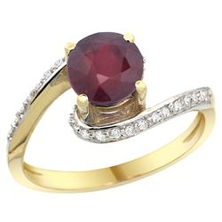 Natural 1.29 ctw ruby & Diamond Engagement Ring 10K Yellow Gold - REF-43N3G