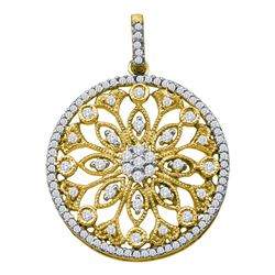 0.50 CTWDiamond Antique-style Circle Pendant 10KT Yellow Gold - REF-37K5W